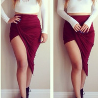 Twisted Unbalanced Skirt - Plum.