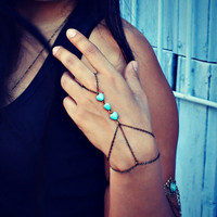 turquoise hearts slave bracelet turquoise jewelry by alapopjewelry