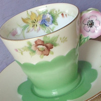 Antique Japanese pink flower handle tea cup set, hand painted green tea cup, porcelain tea cup, china tea cup and saucer, demitasse tea cup