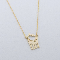 Gold/ Silver Loving Giraffes Necklace