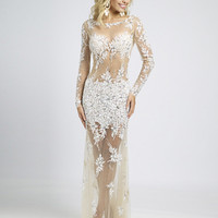 Sheer Beaded Lace Prom Dress 89256 - Prom Dresses