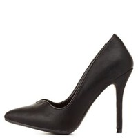 Black Sweetheart Pointed Toe Pumps by Charlotte Russe