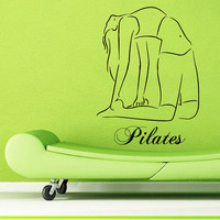 Sport Wall Decals Woman Stretching Pilates Wording Yoga Gym Vinyl Decal Sticker Home Interior Design Art Mural Girl Nursery Room Decor KG797