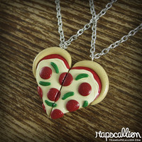 Pizza Heart Best Friends Necklace or Keychain Set