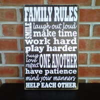 Family Rules wooden sign by dressingroom5 on Etsy