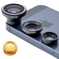 [New Version] VicTsing® 180° Fish-Eye Lens+Wide Angle Lens+Micro Lens 3-in-1 Magnetic Easy-Use Camera Lens Kits (Black) for iPhone 5 5C 5S 4S 4 3GS iPad mini iPad 4 3 2 Samsung Galaxy S4 S3 S2 Note 3 2 1 Sony Xperia L36h L36i HTC ONE Phones with Flat Camer