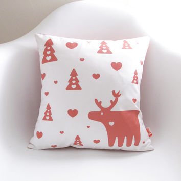 Coral Pink Print on White Moose Christmas Pillow 13 Inches Square