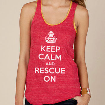 Keep Calm and Rescue On Eco Racerback Tank Top in Red