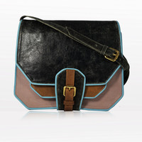 SHREWSBERRY SATCHEL Black Blush Brown Leather Cross Body Bag With Baby Blue Piping