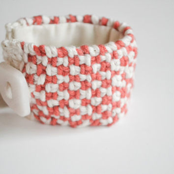 Coral and Ivory Knit Bracelet - Ready to Ship
