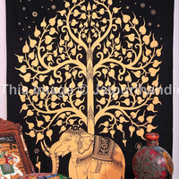 Beautiful Elephant Tree of life Tapestry, Twin size Hippie Indian Tapestry, Bohemian Wall Hanging, Black Color Theme, Elephant Tree Print