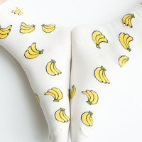 Women New Must Have Hezwagarcia World's the Cutest Banana Pattern High Quality Cotton Cozy Ankle Socks