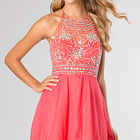 High Neck Short Halter Dress by Blush