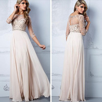 Bling bling bead sequin prom dress 3/4 sleeve floor length formal evening dress champagne chiffon graduation gown beach party dress
