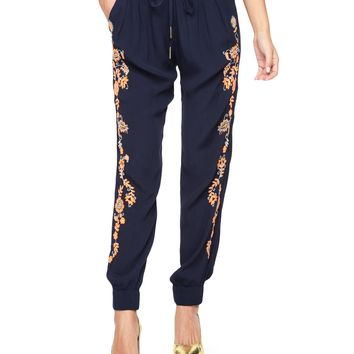 REGAL EMBROIDERED CREPE PANT by Juicy Couture,