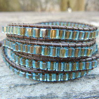 Beaded Leather Wrap Bracelet 4 Wrap with Blue Gold Lined Cube Czech Glass Beads on Brown Leather