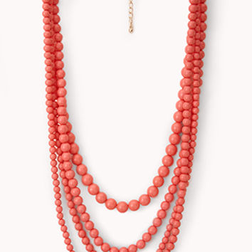 FOREVER 21 Everyday Beaded Layer Necklace Coral One