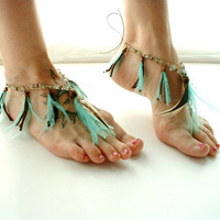 Barefoot Sandals Belly Dance Feather fringe Foot Jewelry Aqua Brown Gypsy Hippie Shoes Toe Thong