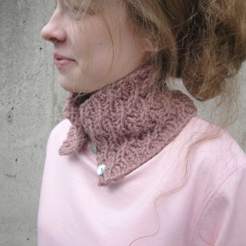 Cable Alpaca Cowl, Dusty Rose Pink, Hand Knit, Button Close, Neck Warmer, Small Scarflette Scarf