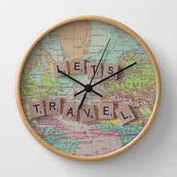 Let's Travel Wall Clock by Debbie Wibowo