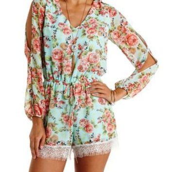 Mint Cold Shoulder Floral Chiffon Romper by Charlotte Russe