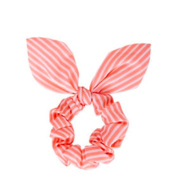 Neon Stripe Scrunchie - Coral