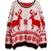 WHMAXIM Women Xmas Retro Deer Sweater Jumpers Knitwear Casual Tops Long Sleeve,Rice White