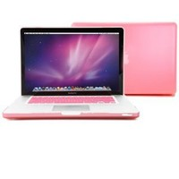 GMYLE Pink Rubberized See-Through Hard Shell Skin Case Cover for Apple 15-inch Aluminum Unibody Macbook Pro With Silicone Pink Protective Keyboard Cover