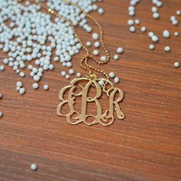 Rose Gold Plated Monogram Necklace