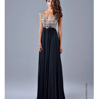 Nina Canacci 8051 Black Sheer Embellished Bodice Gown 2015 Prom Dresses