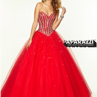 Sweetheart Beaded Tulle Ball Gown Paparazzi Prom Dress By Mori Lee 97066