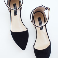 Premium Black Pointy Metal Plate Ankle Strap Suede Leather Flats