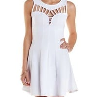 White Caged Cut-Out Skater Dress by Charlotte Russe