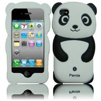 4 Items Combo for Apple Ipod Touch 4 Itouch 4 - Black 3D Panda Design Soft Silicone Skin Gel Cover Case + Premium Lcd Screen Guard + Microfiber Pouch Bag + Stylus Pen
