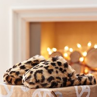 Faux Fur Slippers, Cheetah