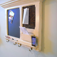 Another Bulletin board idea: An  iPhone Dock on an Antiqued Cottage White message center.
