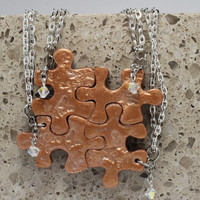 Puzzle Necklaces Set of 4 Polymer Clay Necklaces with Swarovski Crystals Butterfly Set 133