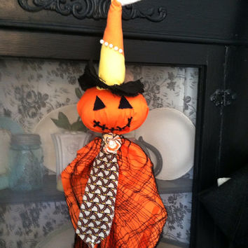 Candy corn pumpkin scarecrow  by PillowsBeyond on Etsy