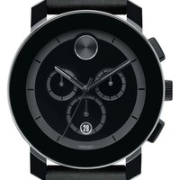 Men's Movado 'Bold' Chronograph Leather Strap Watch, 42mm - Black