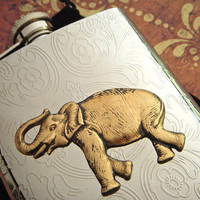 Elephant Flask Gothic Victorian Steampunk Inspired Large Size 8 Ounce Silver & Brass Mixed Metals Big Animal Safari