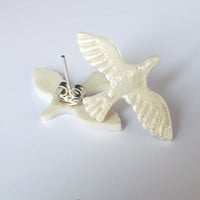 Pearly Porcelain Dove Stud Post Earrings