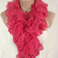 Ruffle Scarf, Frilly Scarf, Knitted Ruffled Scarf (Coral) Gift by Arzu's Style
