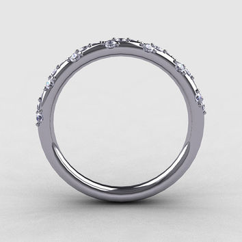 French Bridal 14K White Gold Diamond Wedding Band R185B-14KWGD