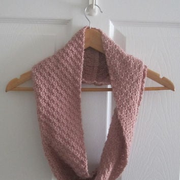 Pink Scarf - Knit Infinity Scarf - Spring Scarf - Hand Knit Cowl - Eco Friendly Knit - Made in Canada - Acrylic Circle Scarf - Eco Conscious