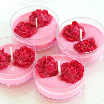 4 Rose Scented Soy Maxi Tea Light Candles, Large Tea Lights, Rose Candles, Pink Soy Tealights, Valentine's Day Gift, Candle Favor, Handmade