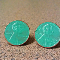 Lucky Penny Mint Studs - Hand Painted Copper Coin Earrings