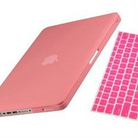 UHURU ® CASE For Apple Macbook Pro 13-inch 13 Inch (A1278 / with or without Thunderbolt) - 2 in 1 Bundle - rubberized / satin Case & MATCHING color keyboard cover with UHURU cleaning cloth (PINK)