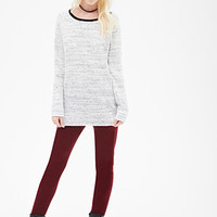 FOREVER 21 Marled Knit Pullover Grey/White