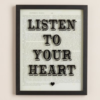 """""""Listen to Your Heart"""" Print on Glass - World Market"""