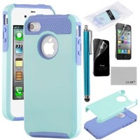 iPhone 4S Case, iPhone 4 Case, ULAK Fashion Armor Case for iPhone 4S and iPhone 4 Cover with Screen Protector and Stylus (Light Blue/Purple)